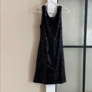 Black Sequin Dress - Open Back
